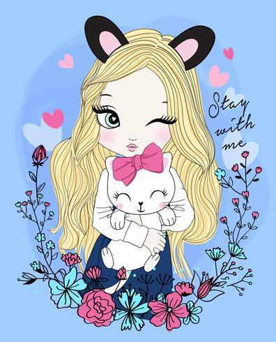 Mão desenhada linda garota usando orelhas com gato e guirlanda floral