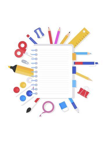 Retour à l'école, cahier avec vecteur de fournitures scolaires