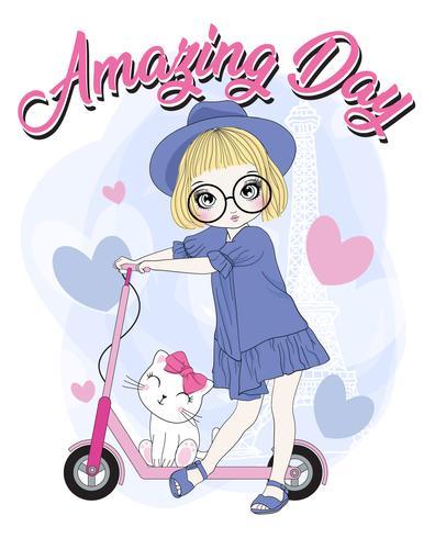 Ragazza carina disegnata a mano con scooter e gatto vettore