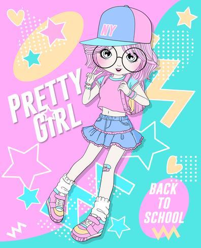 Mão desenhada linda garota vestindo saia e mochila com fundo de doodle
