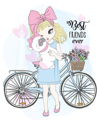 Ragazza carina disegnata a mano con la bicicletta e il cane del migliore amico