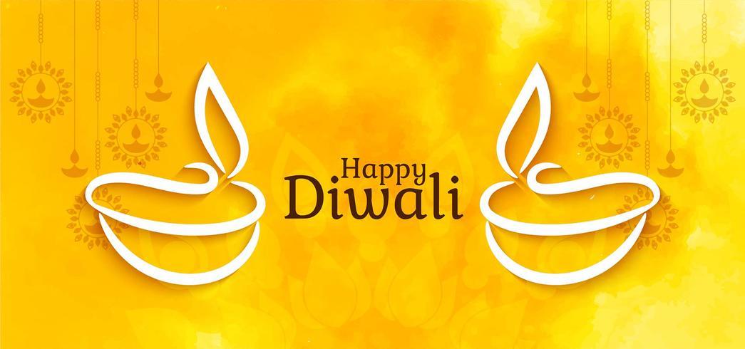 Happy Diwali elegante diseño brillante vector