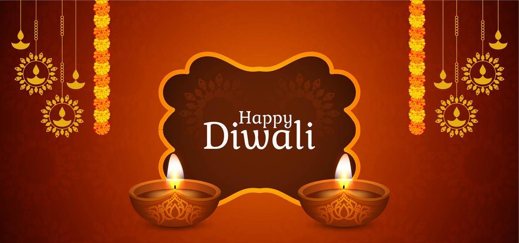 Happy Diwali elegante diseño marrón vector