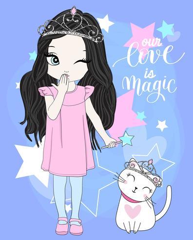 Dibujado a mano linda chica y gato con coronas