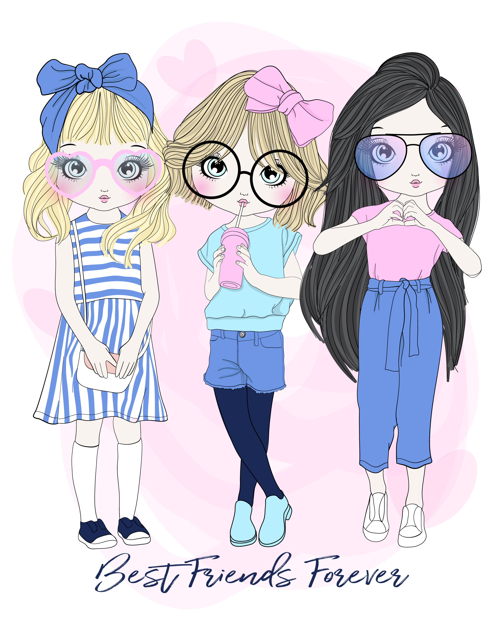Hand drawn cute group of 3 girl best friends in different ...