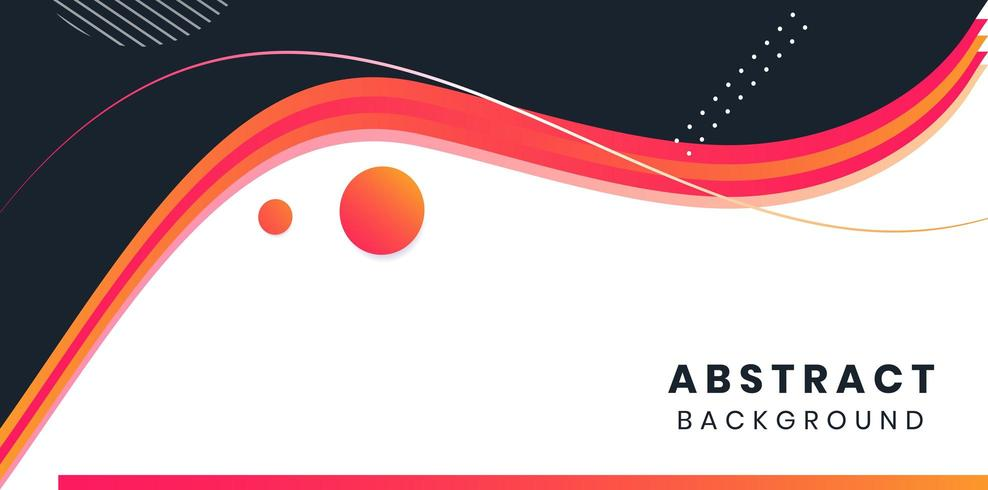 Red, Orange, Black. White Abstract wave background vector minimal layout