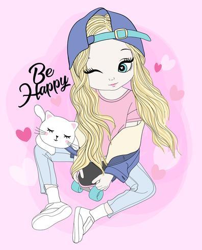 Mão desenhada linda garota sentada no skate com gato