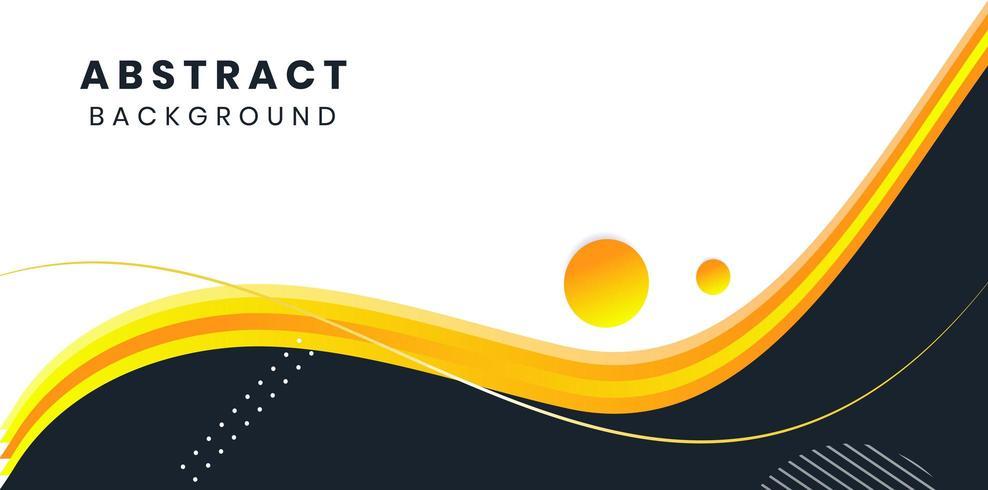 Minimaler Plan des gelben, schwarzen, weißen abstrakten Wellenhintergrund-Vektors