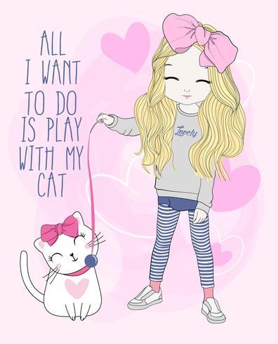 Mão desenhada linda garota brincando com gato
