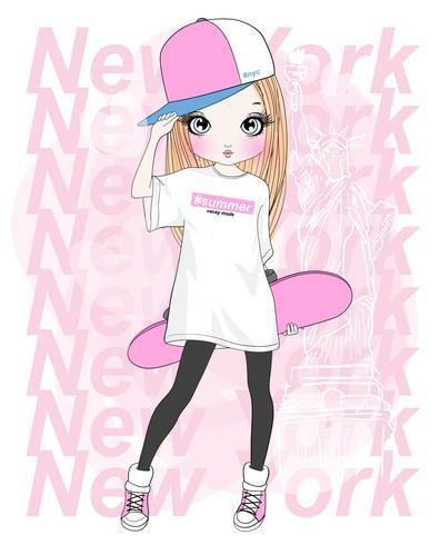 Dibujado a mano linda chica con patín con tipografía de Nueva York vector