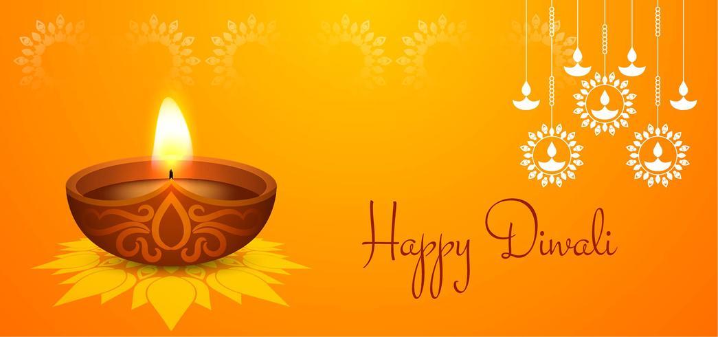 Lámpara colgante Happy Diwali design vector