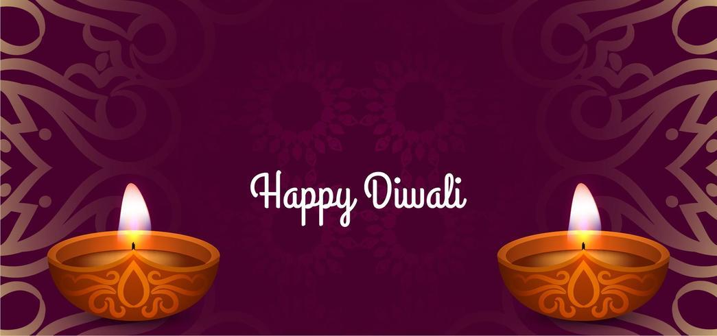 Scheda festiva decorativa felice Diwali vettore