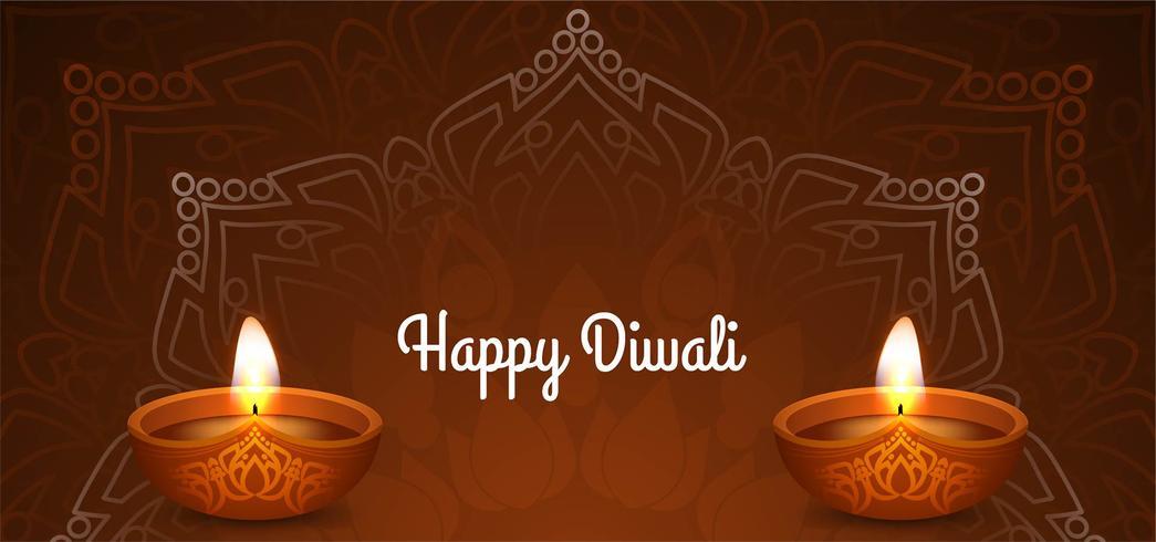 Happy Diwali diseño floral marrón vector