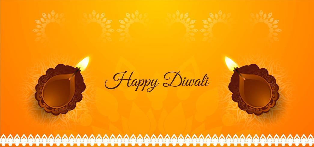 Feliz Diwali brillante banner con diya vector