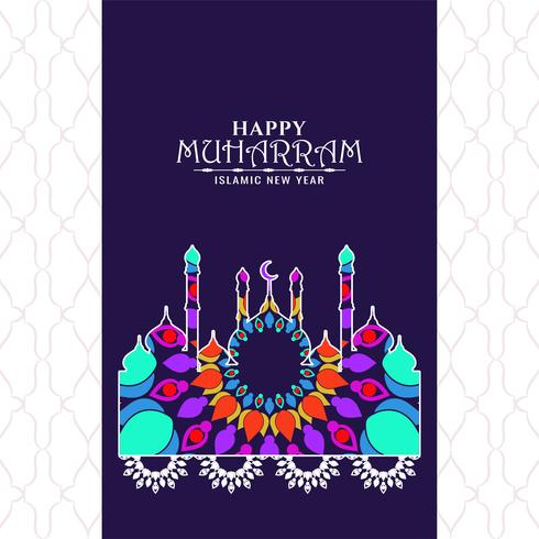 colorido diseño de Happy Muharran vector