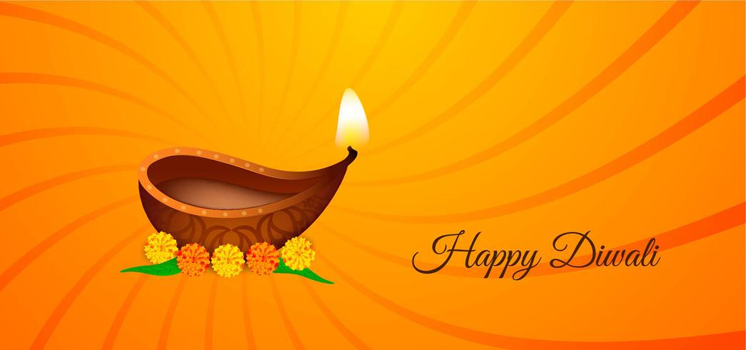 Gelukkig Diwali helder geel en oranje spiraalvormig ontwerp