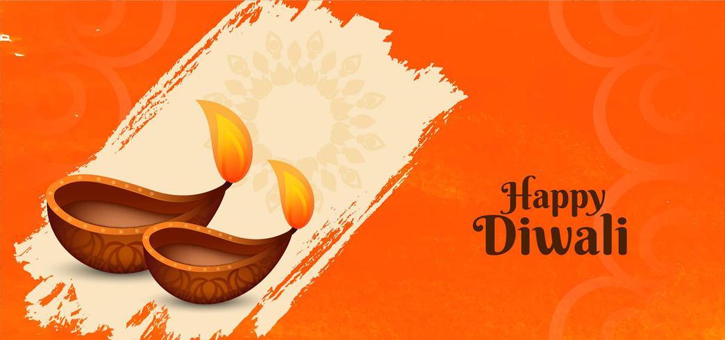 Felice striscione Diwali con decorativo diya vettore