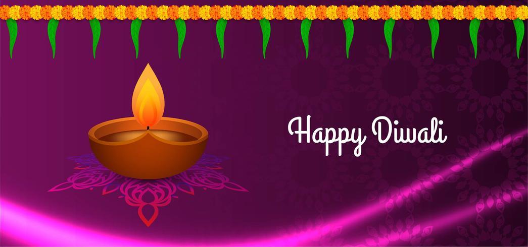 Felice disegno viola Diwali con bella lampada vettore