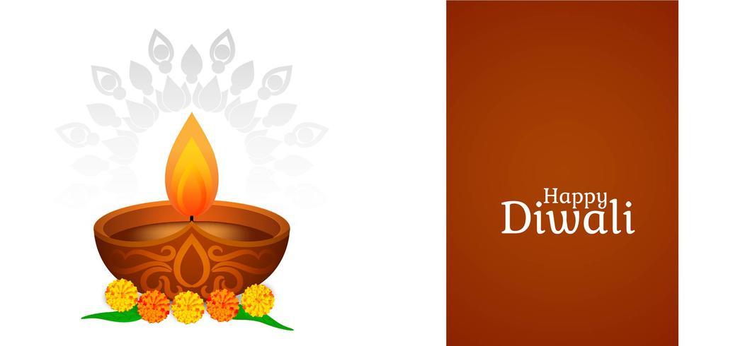 Diseño Happy Diwali con lámpara decorativa. vector
