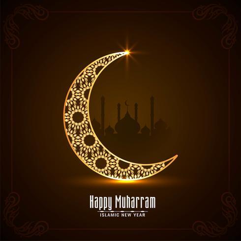 Feliz tarjeta de Muharran con luna brillante vector