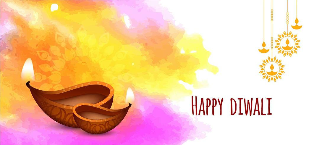 Gelukkig Diwali kleurrijk penseelstreekontwerp