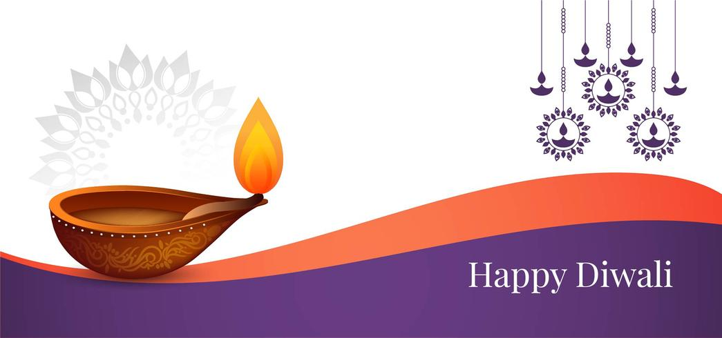 Felice Diwali elegante banner vettore