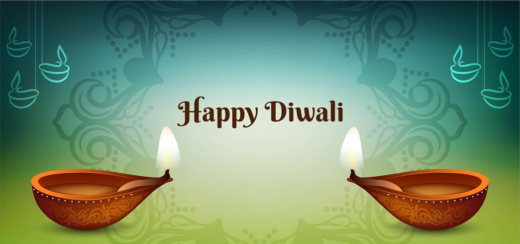 Felice Diwali festival design blu e verde vettore