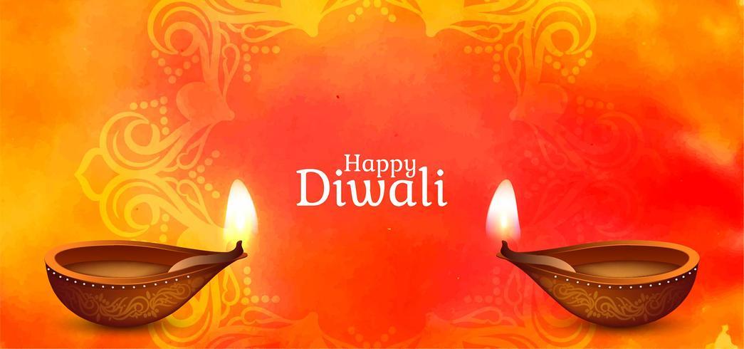 Diseño de saludo festivo feliz de Diwali vector