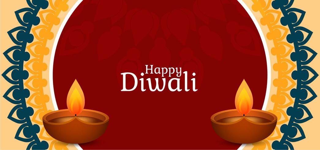 Feliz diseño de banner de Diwali vector