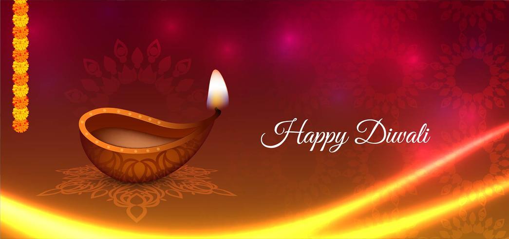 design lucido ondulato Happy Diwali vettore