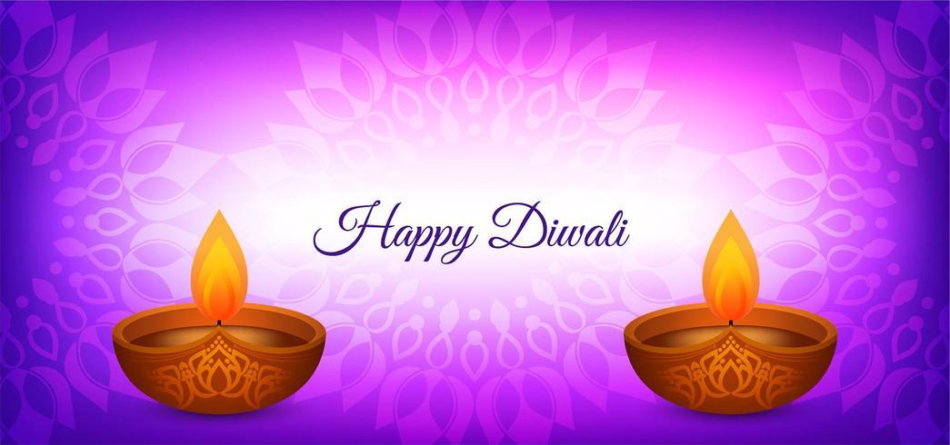 Felice disegno di colore viola Diwali vettore