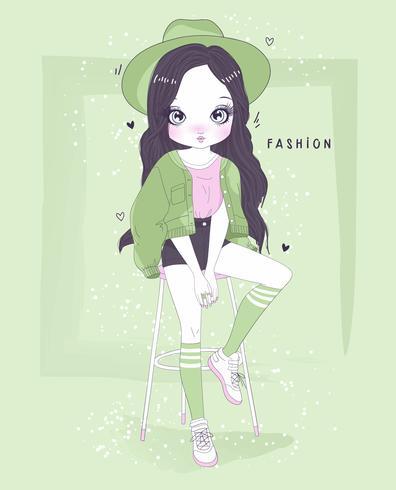 Mão desenhada linda garota vestindo roupa verde com tipografia