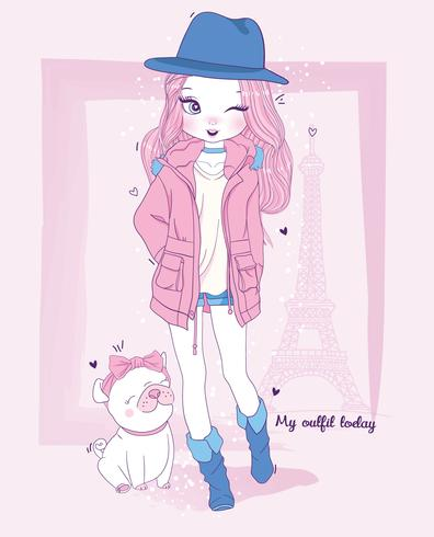 Dibujado a mano linda chica con chaqueta en París con perro y tipografía vector