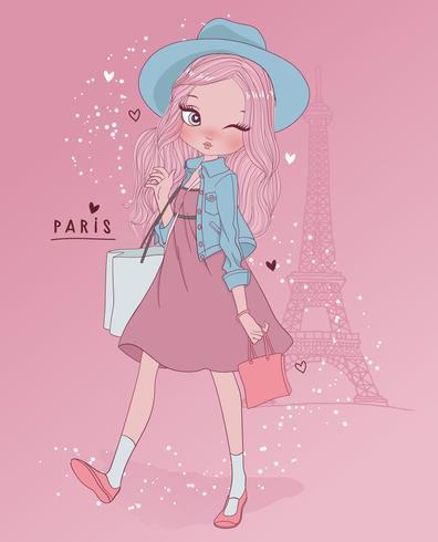 Mão desenhada linda garota em Paris com sacolas de compras e tipografia