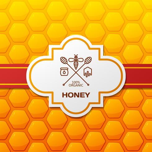 Honigaufkleber auf Bienenwabenhintergrund