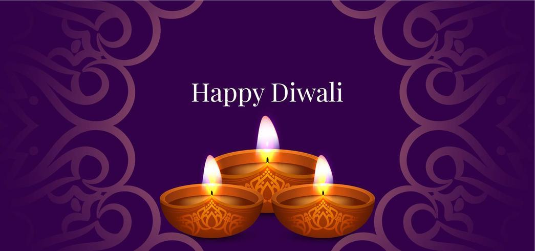Happy Diwali decorativo pancarta morada vector