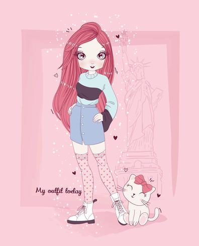 Übergeben Sie gezogene tragende Herzstrümpfe des netten Mädchens mit Katze und Typografie