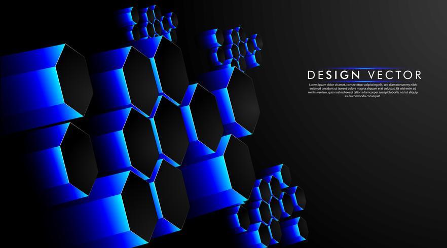 Hexagon Blue Abstract Background of Futuristic Hi-Tech  vector