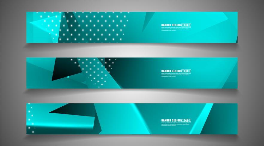 Set of backgrounds hexagon banner vector