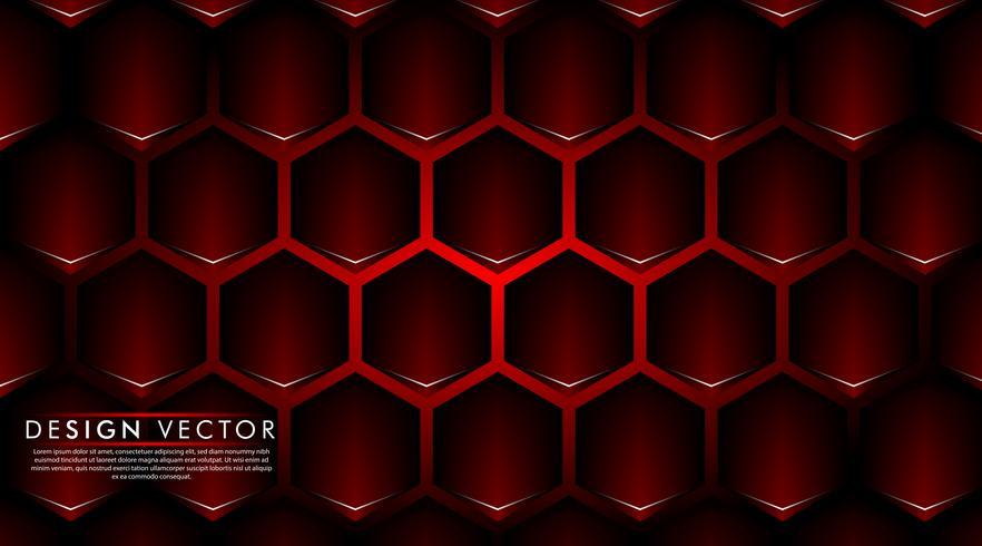 Abstracte rode banner op zwart zeshoekpatroonontwerp