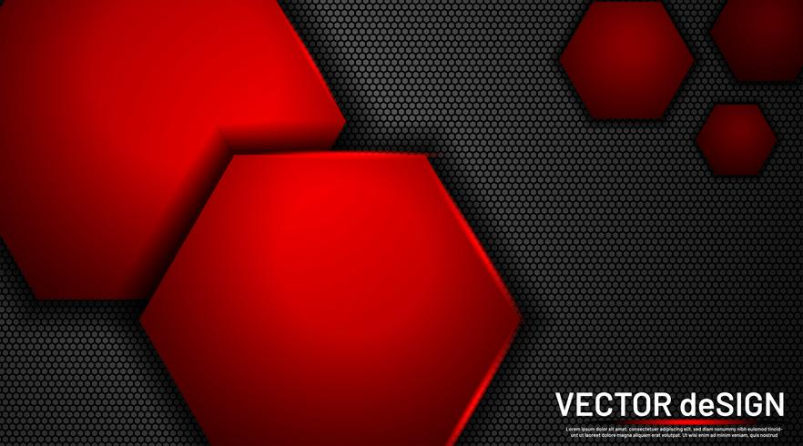 Resumen metálico con un fondo hexagonal vector