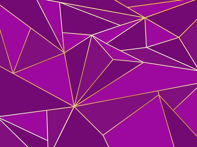 Polígono púrpura abstracto artístico geométrico con fondo de línea dorada vector