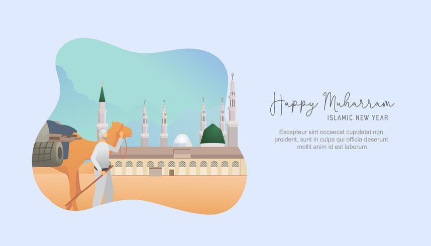 Saludo feliz año nuevo islámico Muharram vector