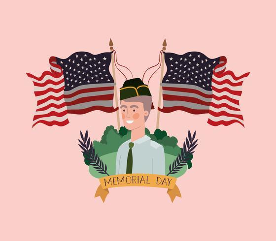 Militar con uniforme en el campo con banderas de Estados Unidos cruzadas