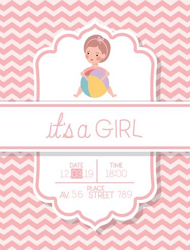 det är en tjej baby duschkort