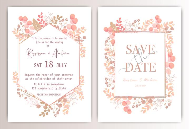 wedding invitation card with colourful floral and leaves.