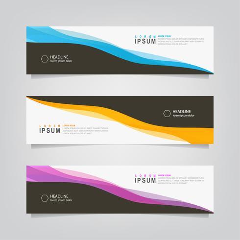 Conjunto de Banner de líneas onduladas abstracto negro y color vector
