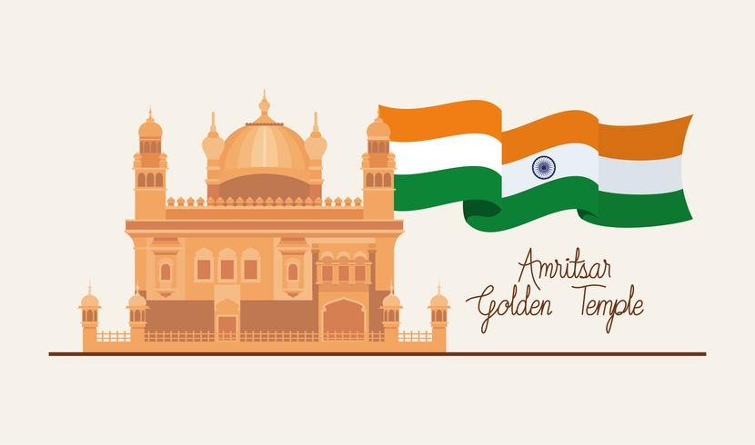 temple d'or amritsar indien avec drapeau vecteur