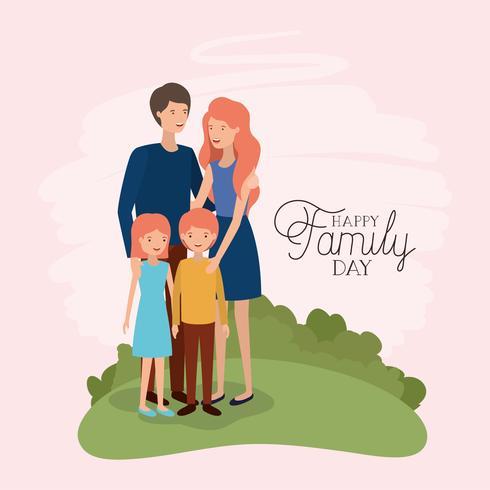 cartão de dia da família com pais e filhos no campo