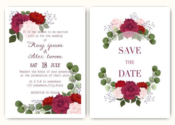 Tarjeta de invitación de boda con coloridas flores y hojas. vector